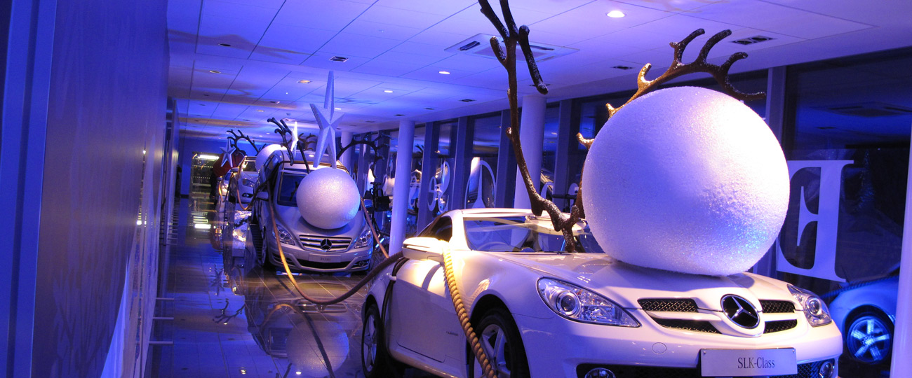 Mercedes benz christmas window display model makers for Green room retail