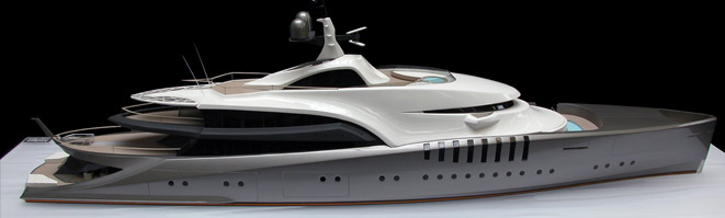 CNC machining superyacht hull by Amalgam Modelmaking