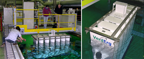 Offshore power generation models - Verderg SMEC test tank rig