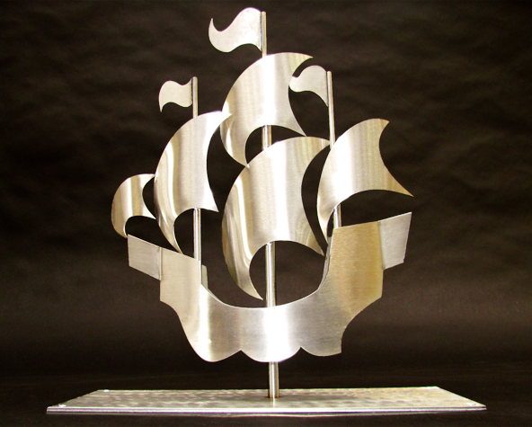 Blue Peter ship sculpture