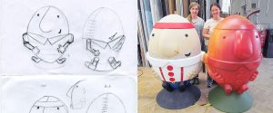Scrumpty branded character design full size sketches